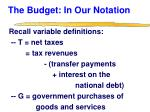 the budget in our notation
