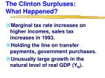 the clinton surpluses what happened