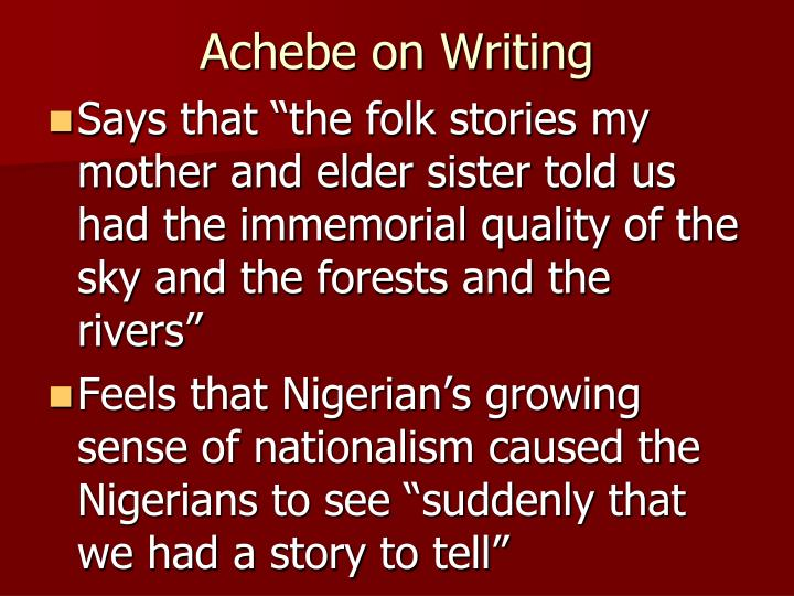 Achebe on Writing