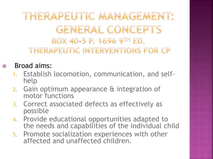 Therapeutic Management: