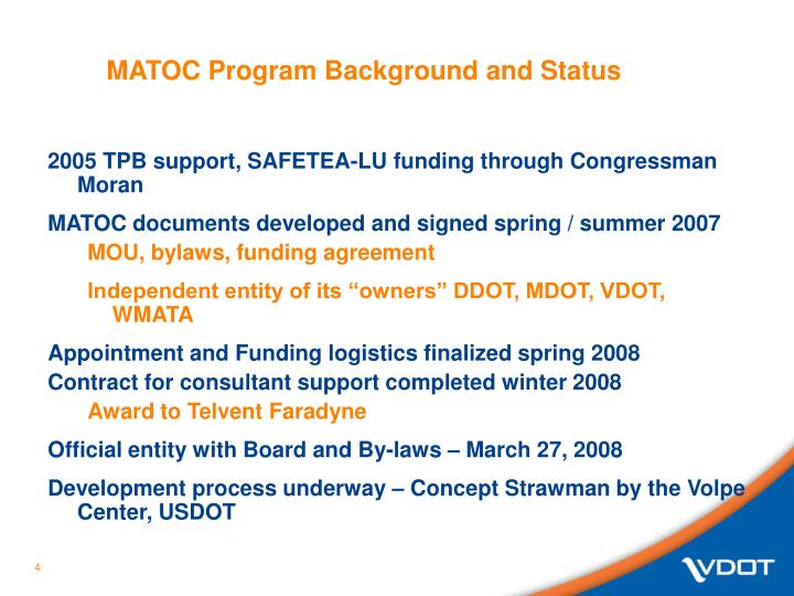 MATOC Program Background and Status