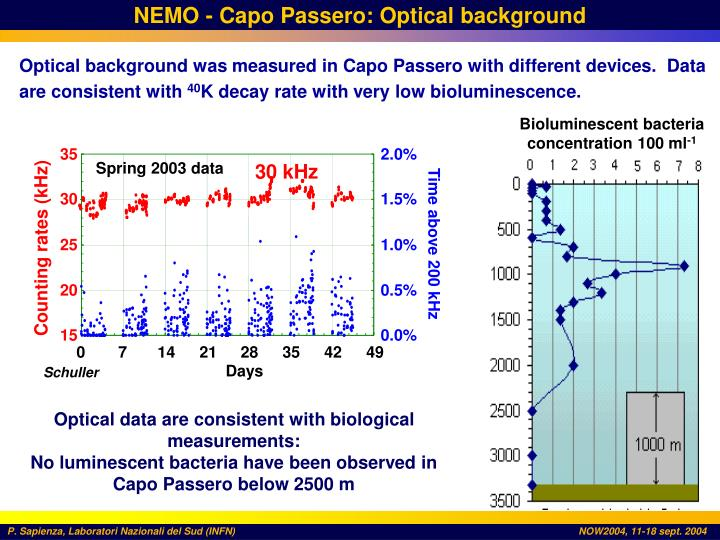 NEMO - Capo Passero: Optical background