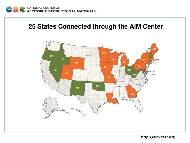 25 States Connected through the AIM Center