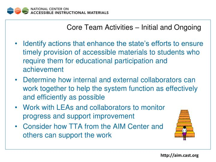 Core Team Activities – Initial and Ongoing