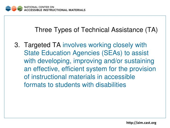 Three types of technical assistance ta1