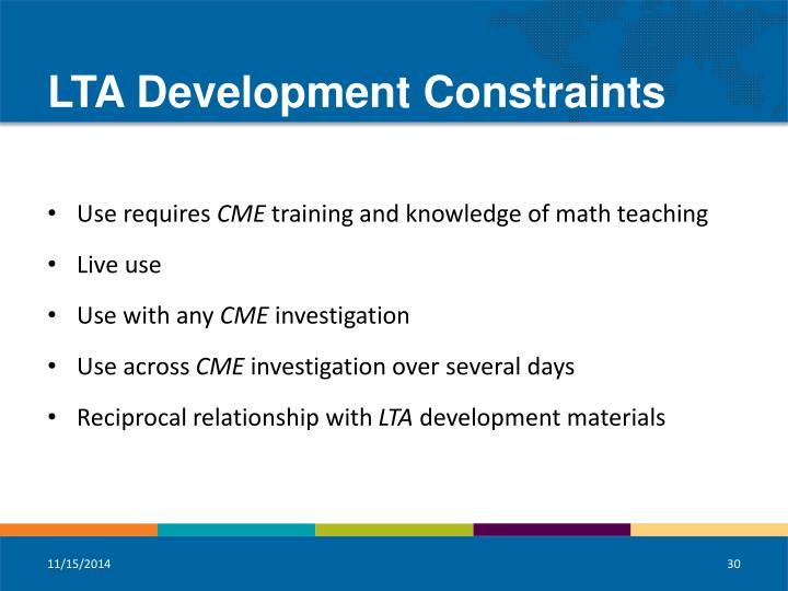 LTA Development Constraints
