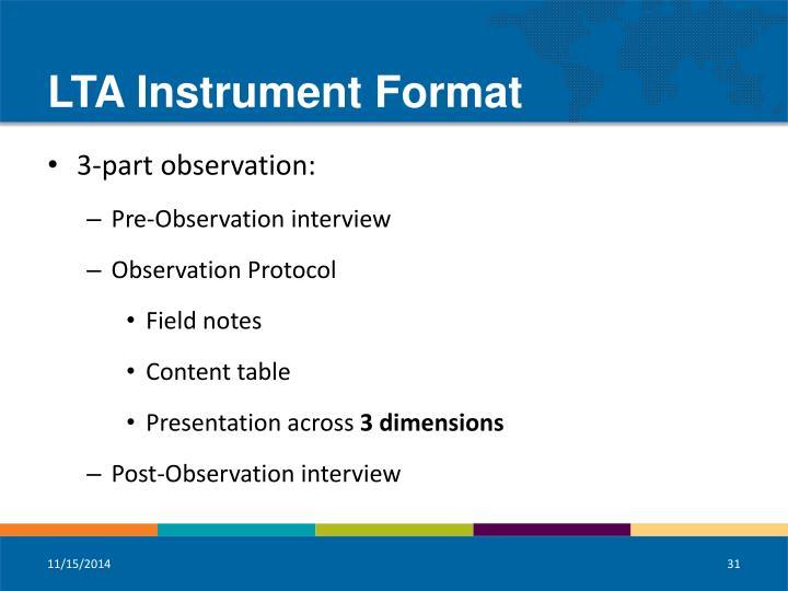 LTA Instrument Format