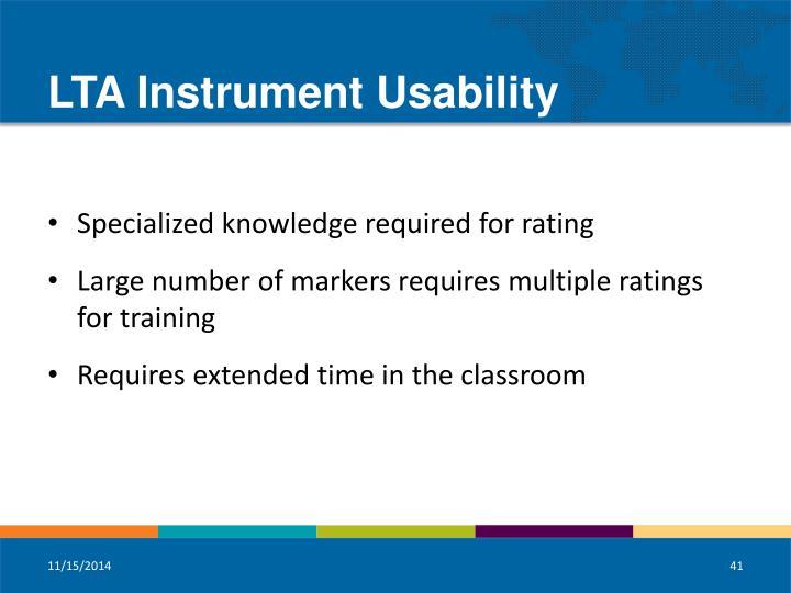 LTA Instrument Usability
