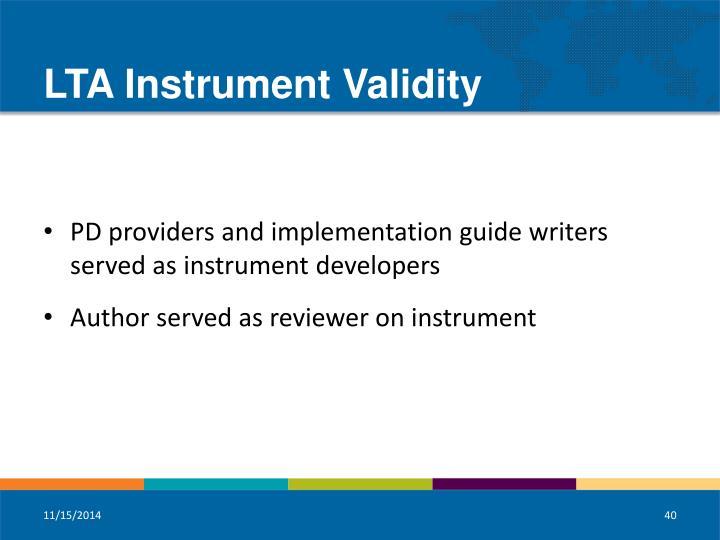 LTA Instrument Validity