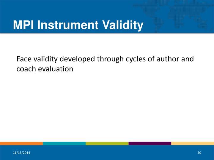 MPI Instrument Validity