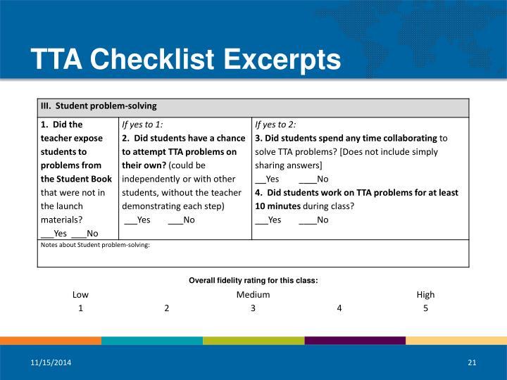 TTA Checklist Excerpts