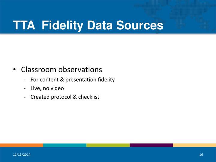 TTA  Fidelity Data Sources