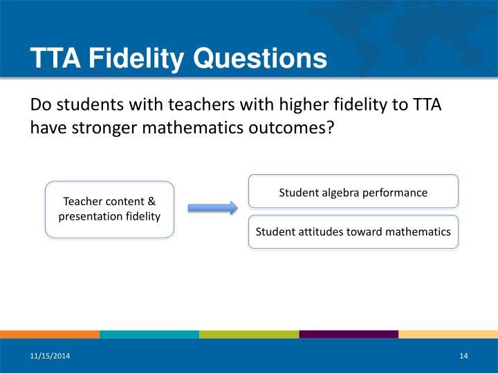 TTA Fidelity Questions