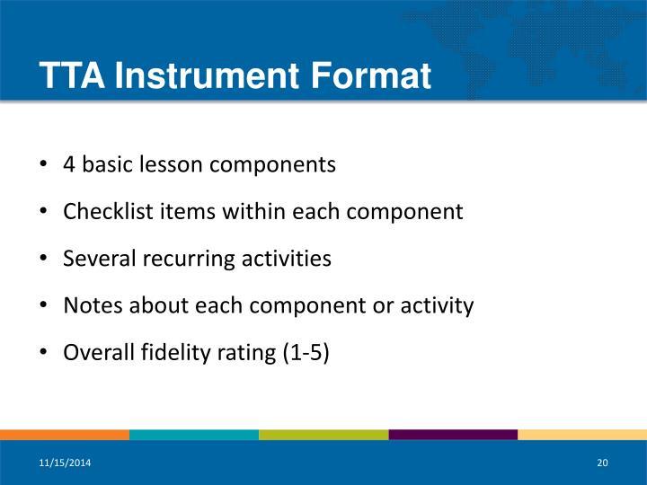 TTA Instrument Format