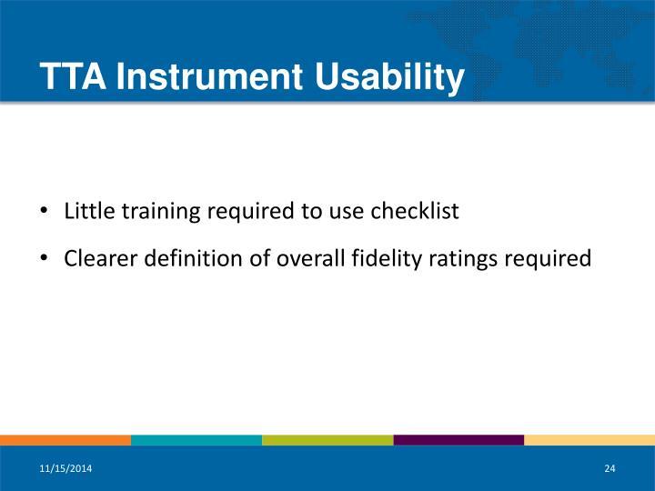TTA Instrument Usability