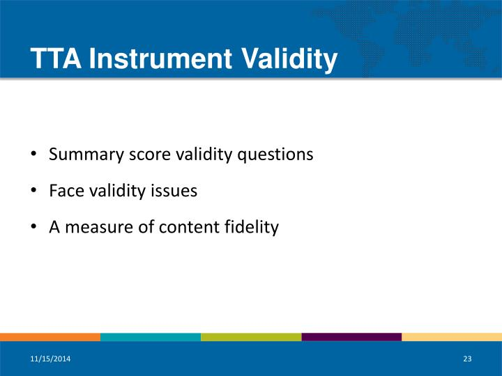 TTA Instrument Validity