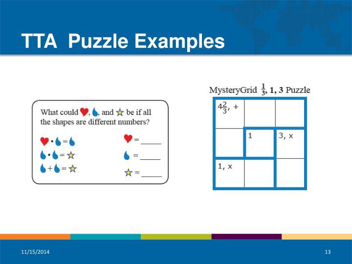 TTA  Puzzle Examples