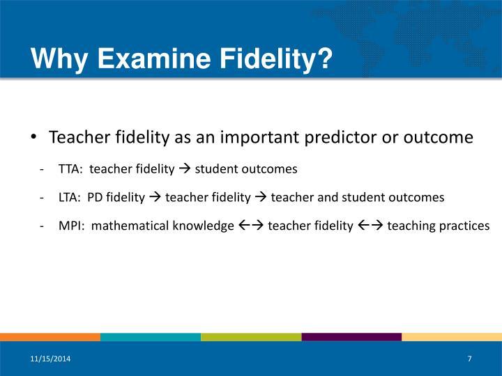 Why Examine Fidelity?