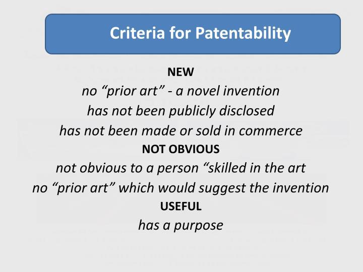 Criteria for Patentability