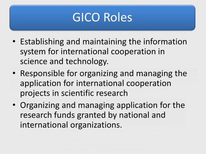 Establishing and maintaining the information system for international cooperation in science and technology.