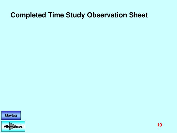 Completed Time Study Observation Sheet