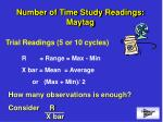number of time study readings maytag