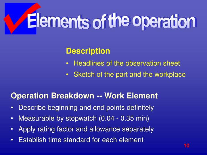 Elements of the operation