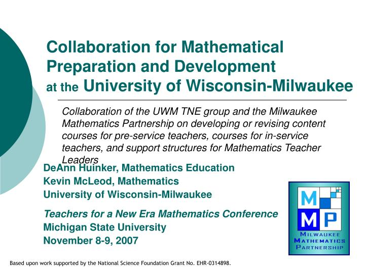 Collaboration for Mathematical Preparation and Development