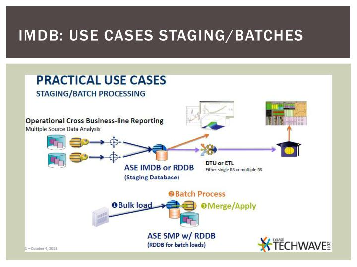 IMDB: USE CASES staging/batches