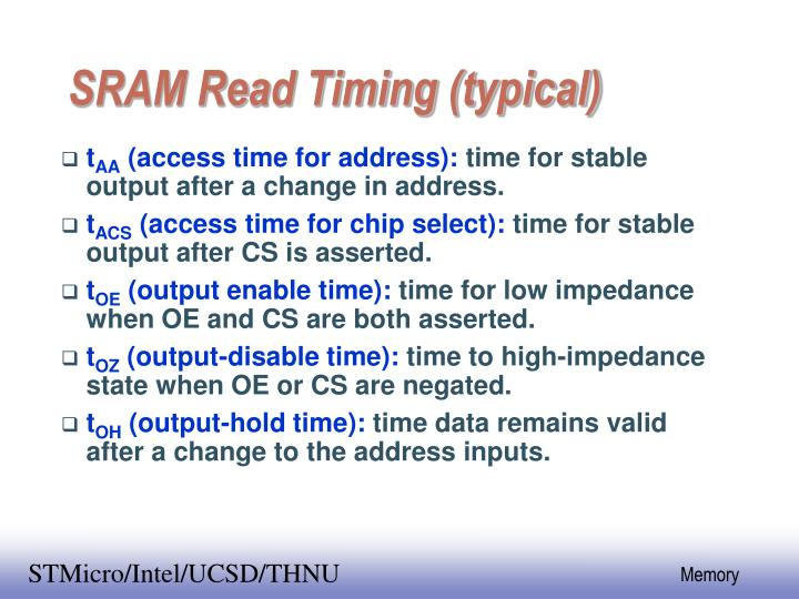 SRAM Read Timing (typical)