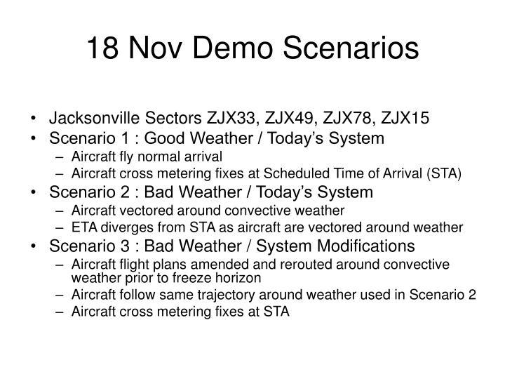 18 Nov Demo Scenarios