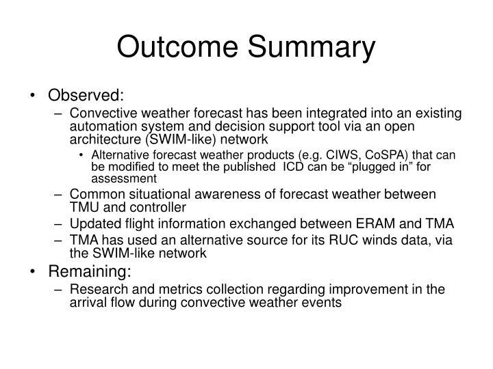 Outcome Summary