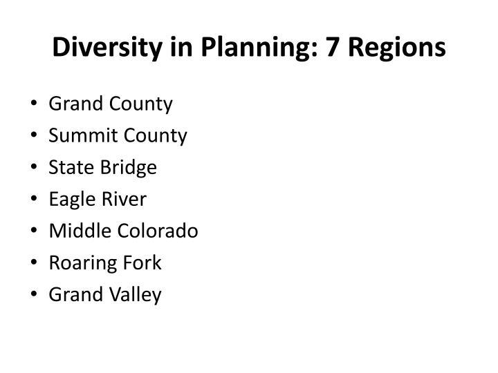 Diversity in Planning: 7 Regions