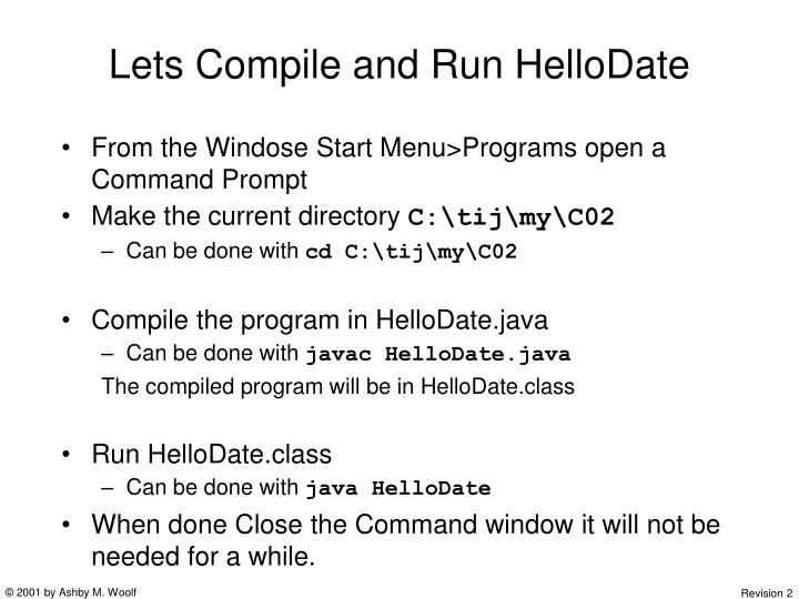 Lets Compile and Run HelloDate