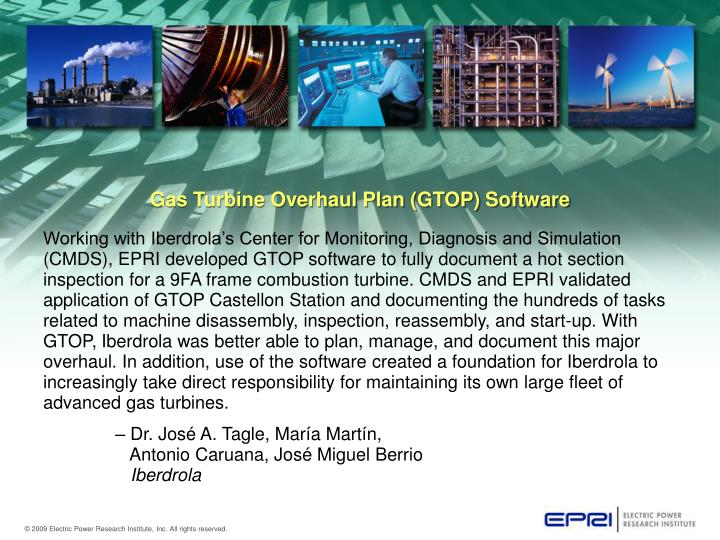 Gas turbine overhaul plan gtop software