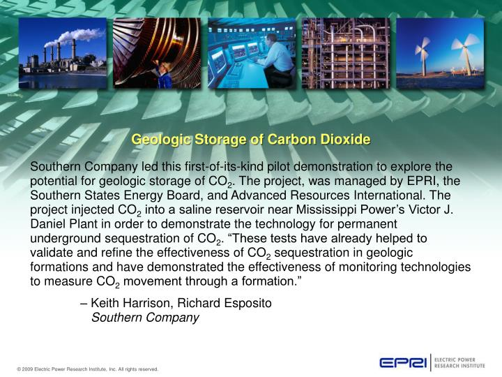 Geologic Storage of Carbon Dioxide