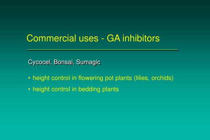 Commercial uses - GA inhibitors
