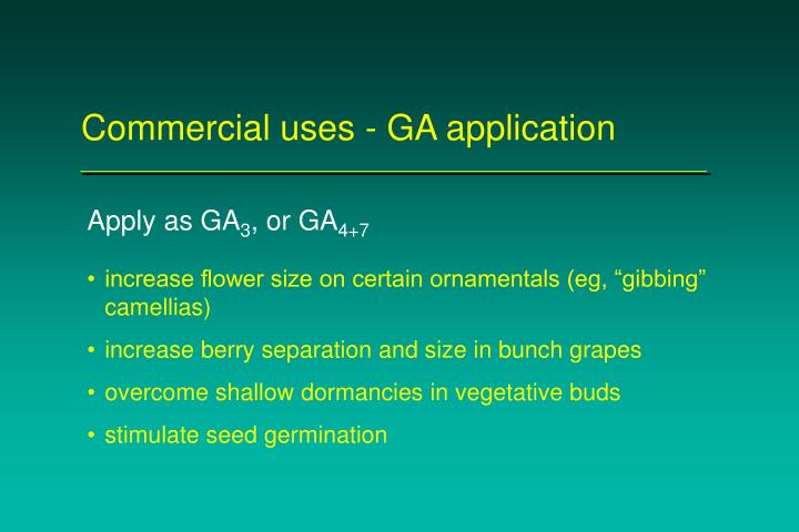 Commercial uses - GA application