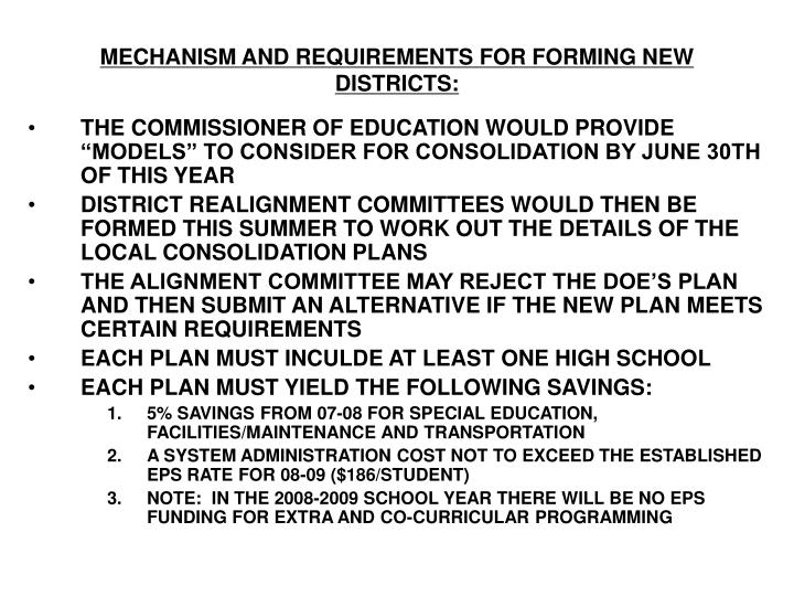 MECHANISM AND REQUIREMENTS FOR FORMING NEW DISTRICTS: