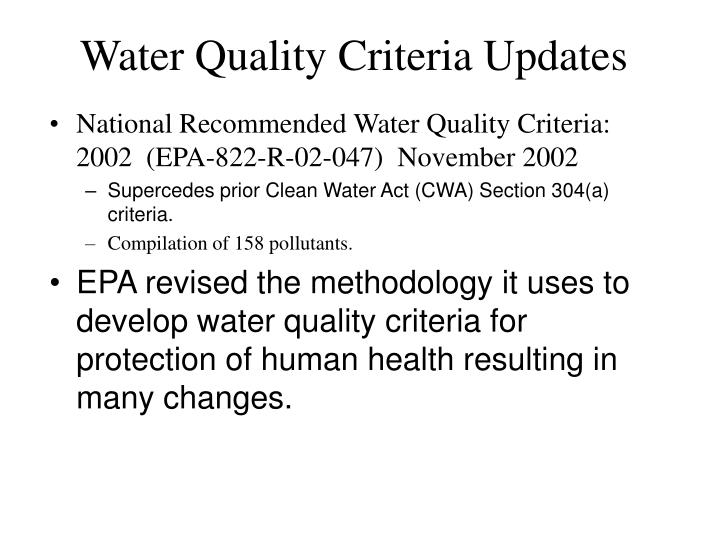 Water Quality Criteria Updates
