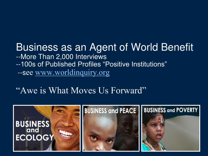 Business as an Agent of World Benefit