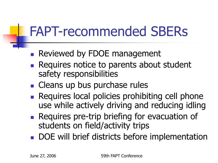 FAPT-recommended SBERs