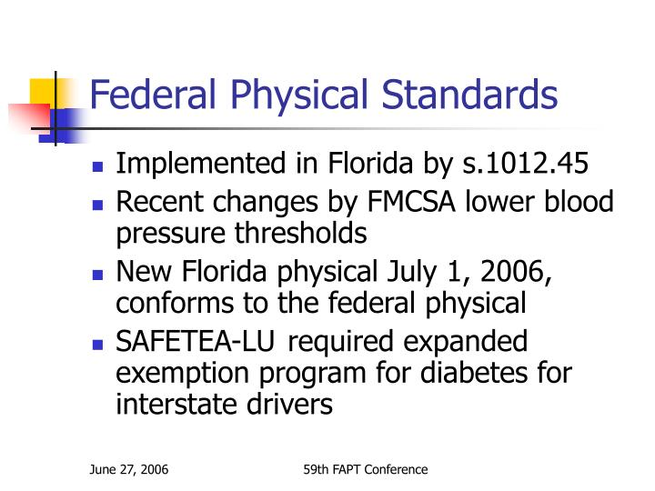 Federal Physical Standards