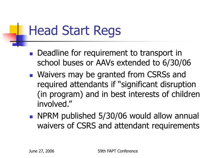 Head Start Regs