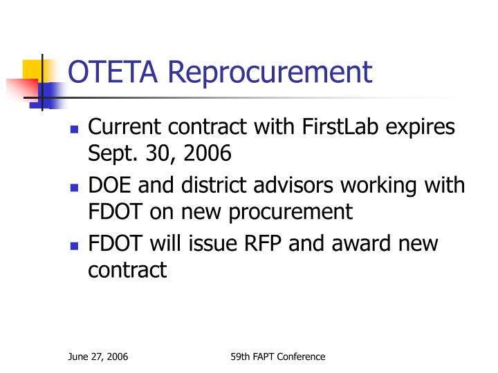 OTETA Reprocurement