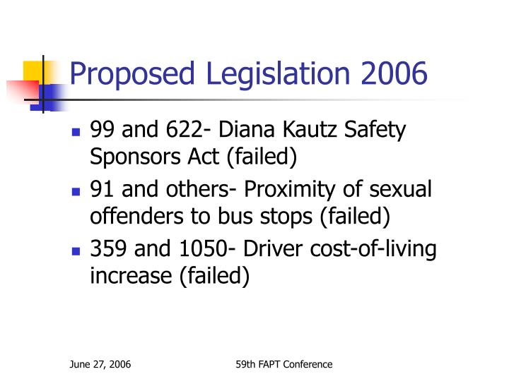 Proposed Legislation 2006