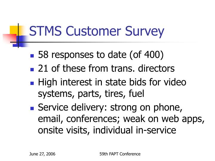 STMS Customer Survey