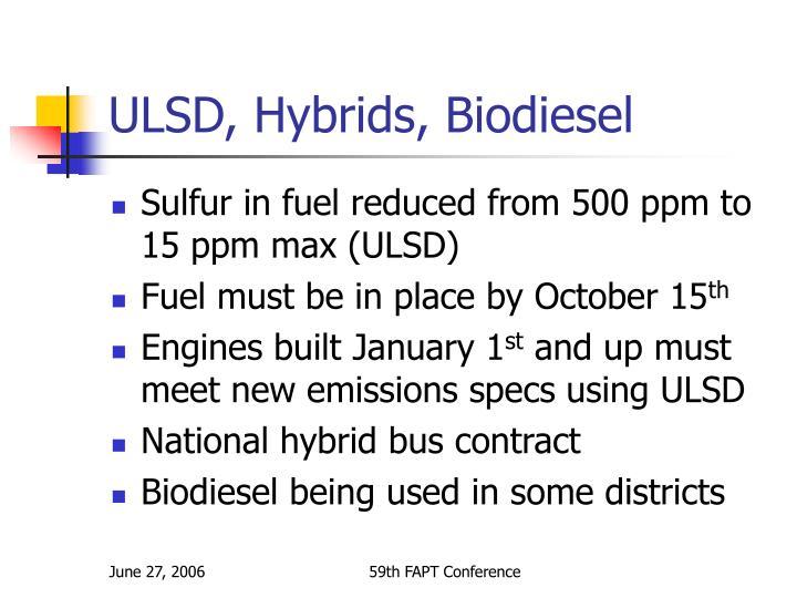 ULSD, Hybrids, Biodiesel