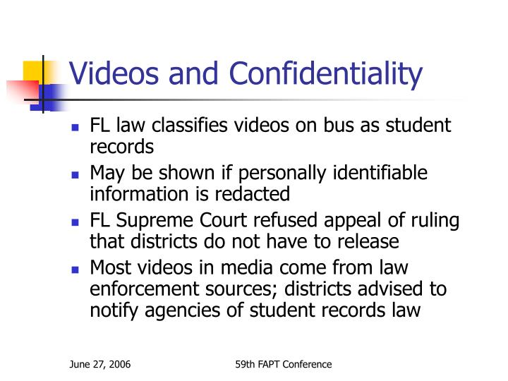 Videos and Confidentiality