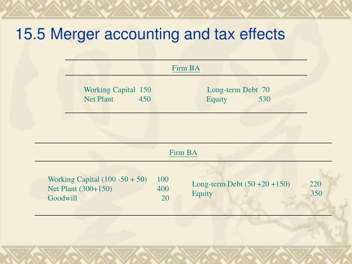 15.5Merger accounting and tax effects